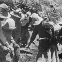 Campesinos sembrando el maíz: piso queswa